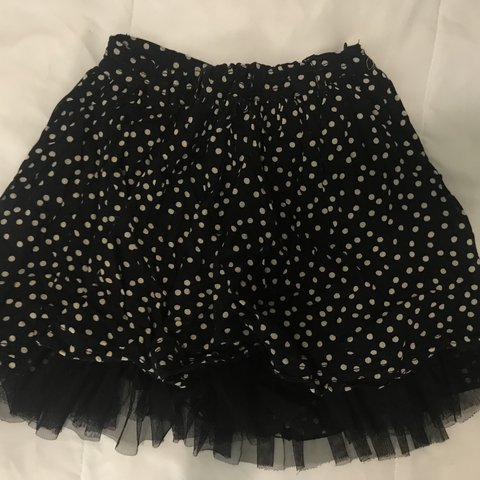 d46ca8d9ab66f super cute black and white polka dot skirt with tulle this a - Depop