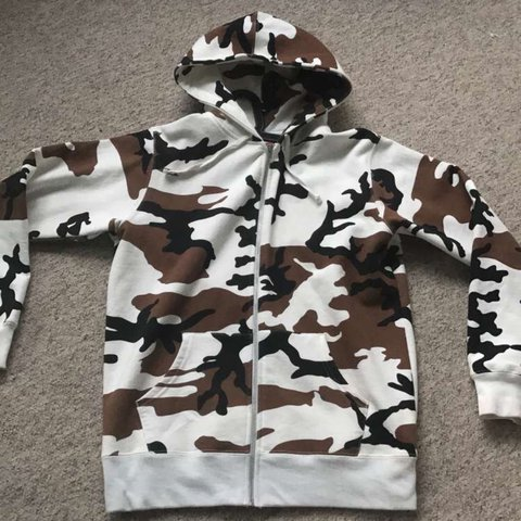 0015f17c2984 Supreme black green white. Cow. Camouflage hoodie. 9 10 just - Depop
