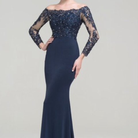 59219b396990 @missooo. 2 years ago. London, United Kingdom. Navy Blue Off The Shoulder  Floor Length Evening Dress.