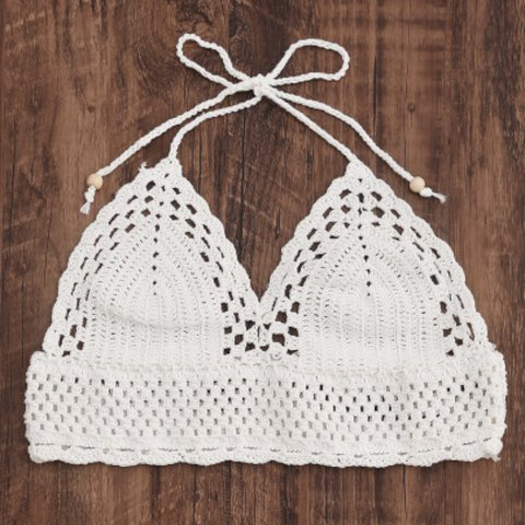 37ded33b063 White crochet knit halter crop top bralette. Can also be as - Depop