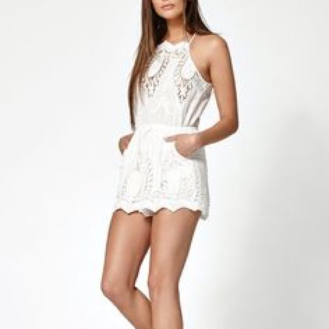 3be39c17130 pacsun kendal and kylie white lace halter neck romper! only - Depop