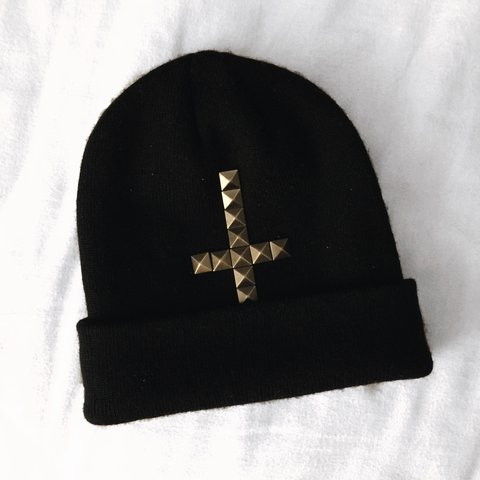 Free Shipping Black Beanie With Studded Upside Down Cross Depop