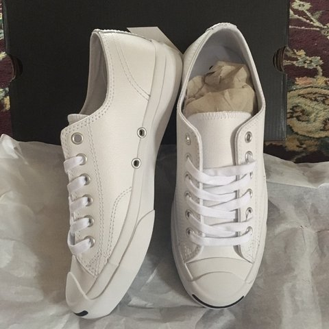 cadff63d208a Brand new never worn Jack Purcell white leather Converse 7. - Depop