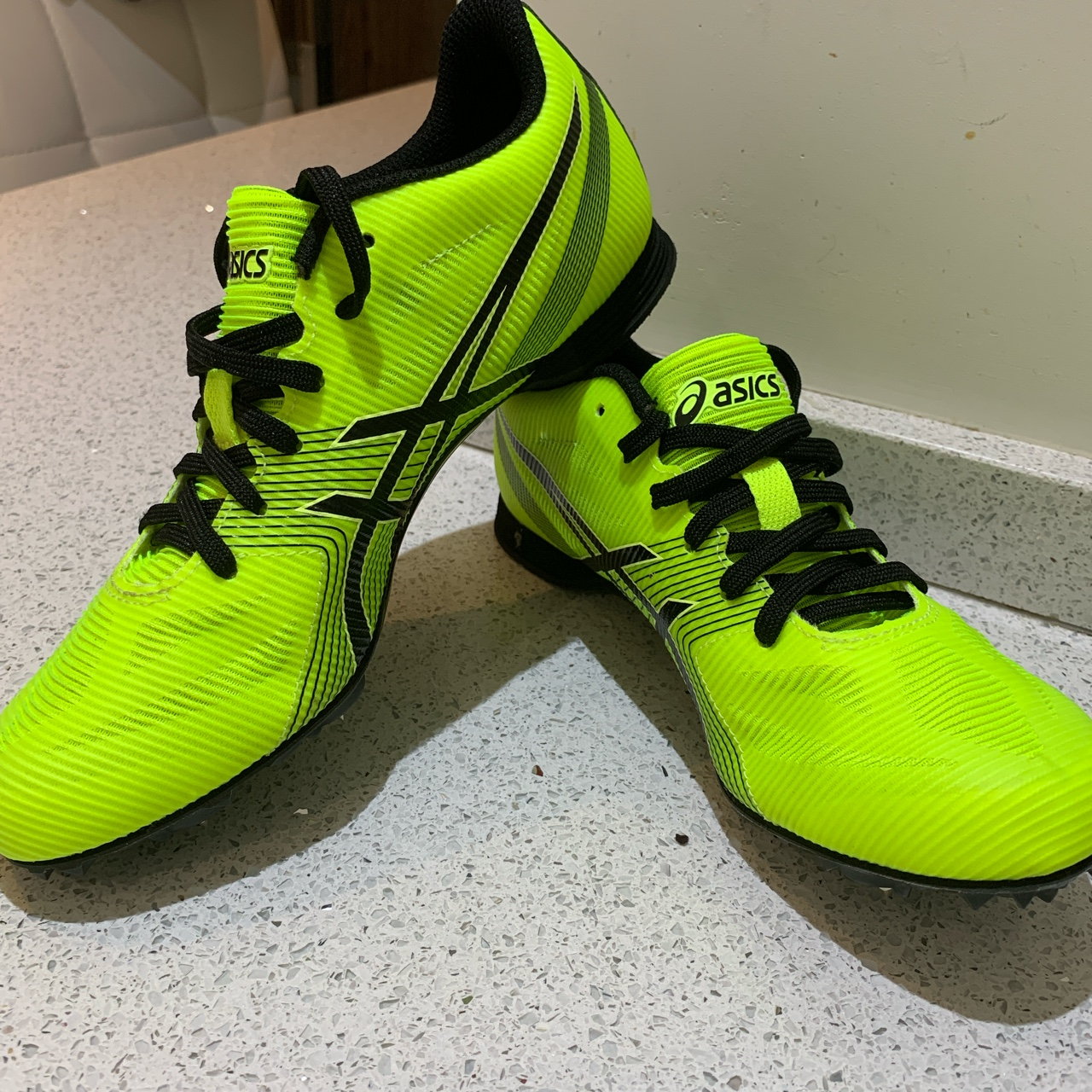 Neon Yellow Asics Track Spikes Trainers