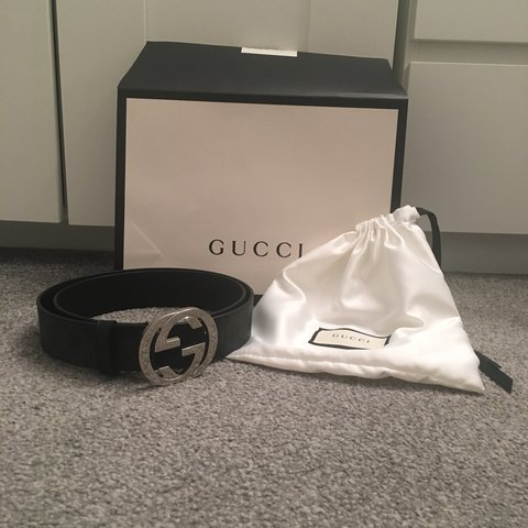 6ded0cb4abfc RRP £250, Gucci black with silver buckle, big buckle belt to - Depop