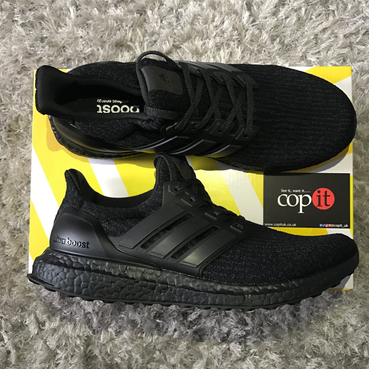 22cd7998a Adidas Ultra Boost Triple Black 3.0. Size 12 UK available. - Depop