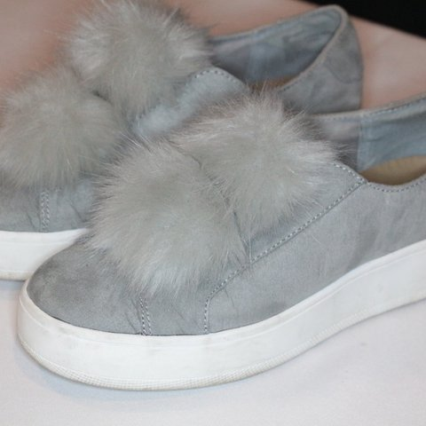 a9a65ad91e1f Steve Madden Fuzzy Ball Sneakers. These are SOOO cute. I m a - Depop