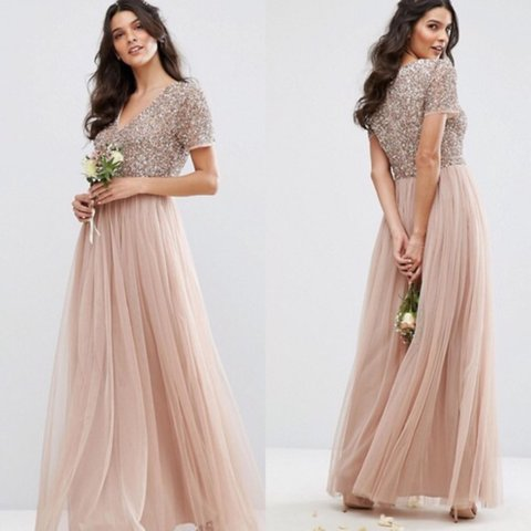 1977cb383e3 Maya v neck maxi tulle dress with tonal delicate blush with - Depop