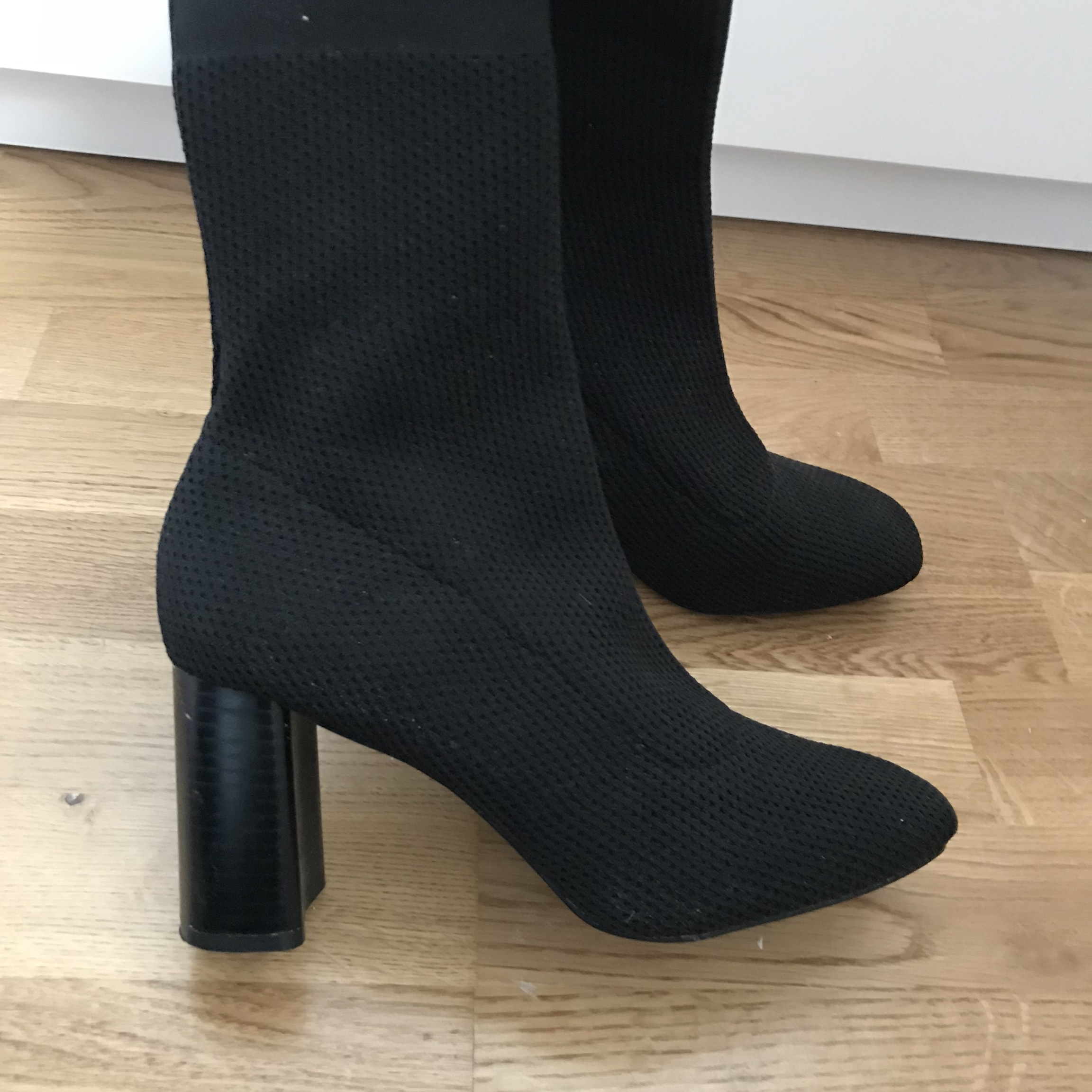 Zara knit black sock boots with square