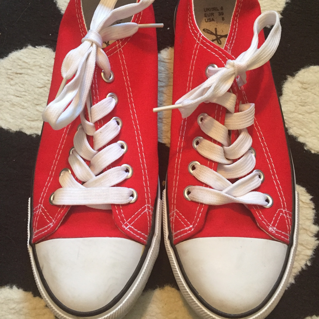 red converse style shoes