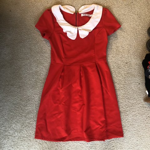 fde87e001e455 @ardwight. 7 months ago. Alexandria, United States. Red ModCloth dress with  white Peter Pan collar
