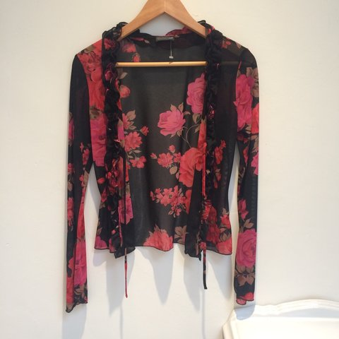 4ccffcfe @et4699. 3 years ago. United Kingdom. Beautiful sheer 90s ruffly tie up  rose print mesh long sleeve top ...