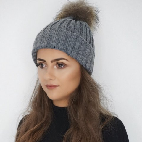 bd80bea6b20 Grey Bobble Hat Real fur Pom Pom Reduced from £16 Other - Depop