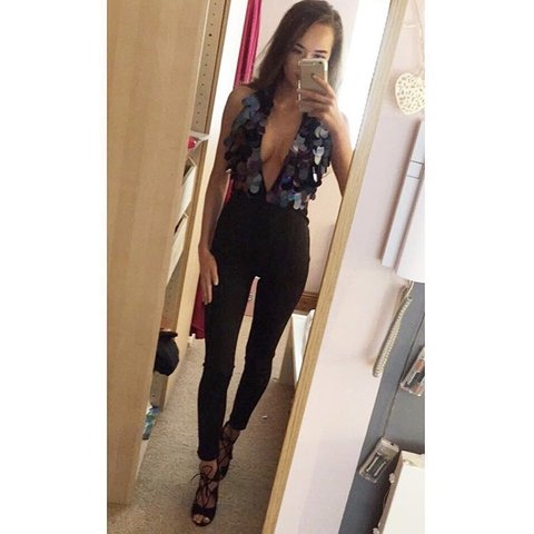 c1dd9b32075f  thaismc99. 10 hours ago. Ireland. Black sequin plunge open back jumpsuit  from misguided. Size 6 ...