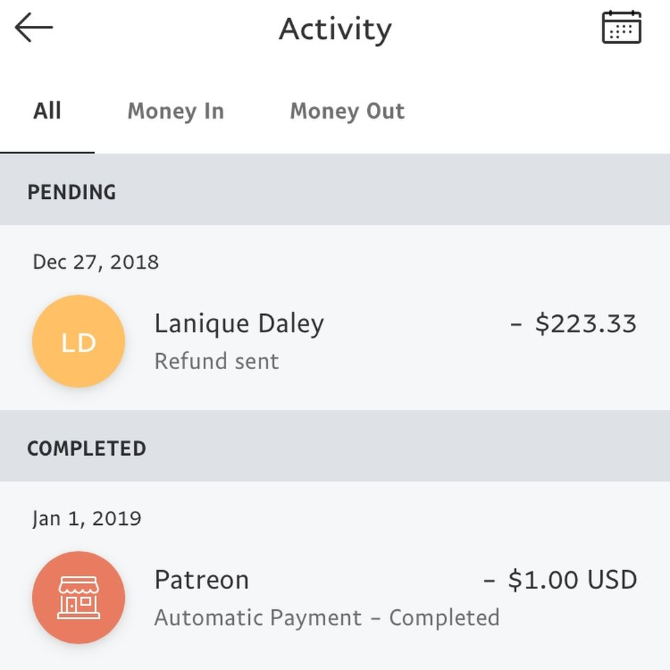 here's what's in my paypal activity history    - Depop