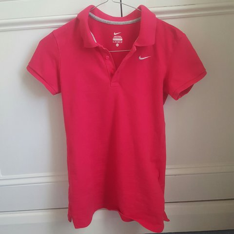 d90e6790e pink/red nike polo shirt!! practically new says size XS but - Depop