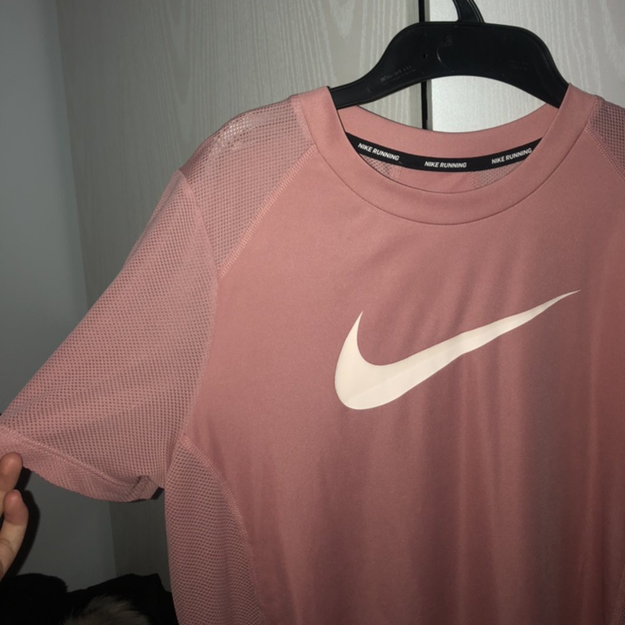 women s nike running top in light pink rose gold depop women s nike running top in light pink