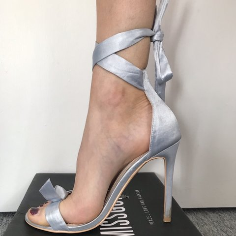 3e99882b5 💟Missguided Grey Silver Bow Wrap Around Sandals High Heels - Depop