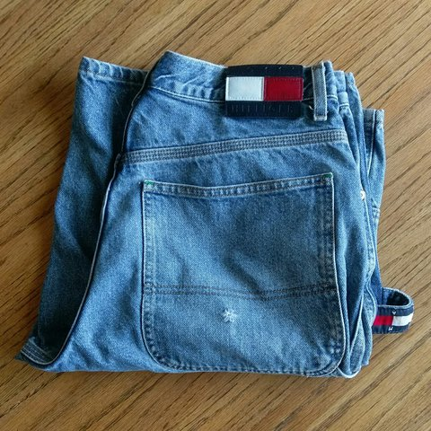 fd210687 90s Tommy Hilfiger carpenter jean shorts. Logo on hammer - - Depop