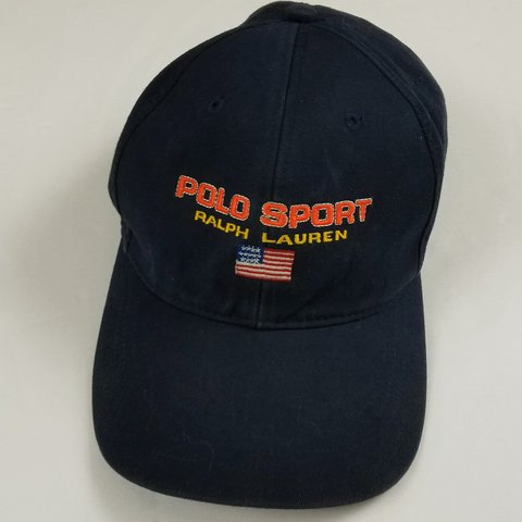 Vintage Polo Sport Ralph Lauren cap. Navy blue with orange - Depop d182e9112c89