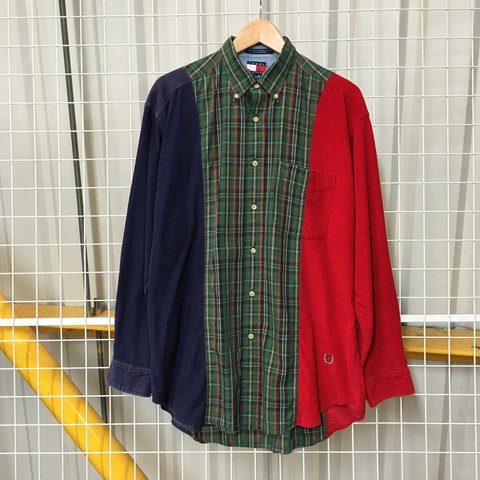 d8e55f24 @evintagestore. 2 years ago. Cardiff, United Kingdom. VINTAGE TOMMY  HILFIGER CHECK & CORDUROY SHIRT ...