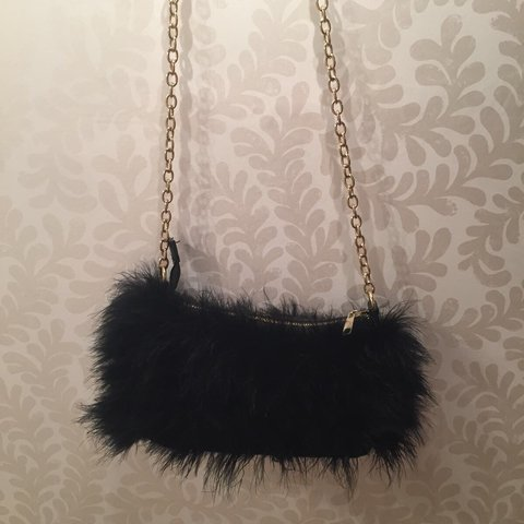 3cd4401c2 @hwilson43. last year. London, United Kingdom. Black furry topshop shoulder  bag with gold chain ...
