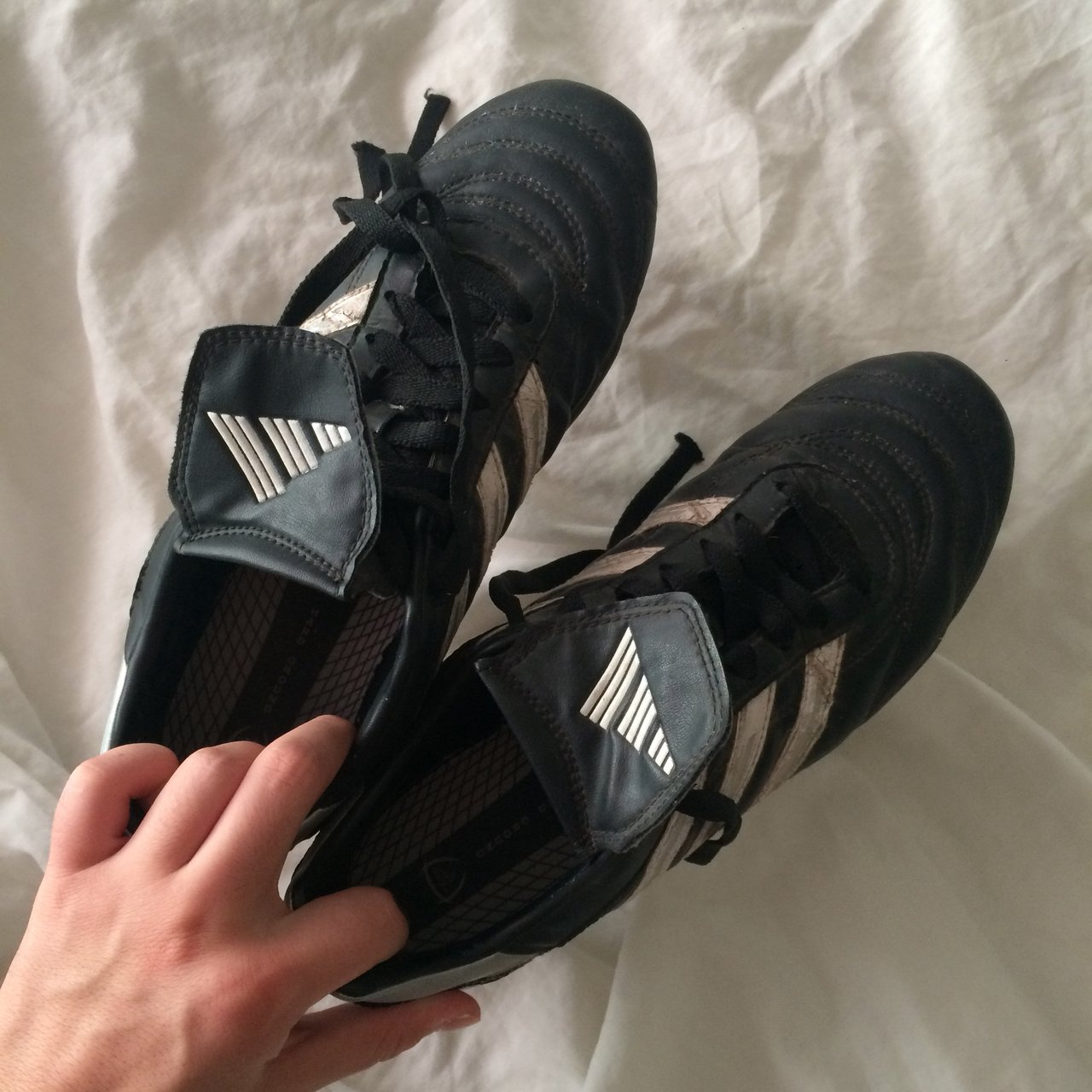 Size 8 women s soccer cleats in black and white by Adidas. a - Depop b6a5696261