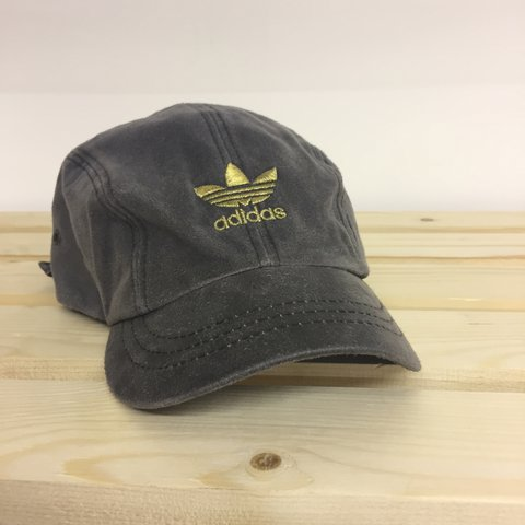 Vintage suede Adidas cap    Grey with gold embroidery  gold - Depop 7496c4cd67d