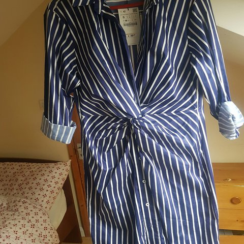 b671aa3c66 ZARA Striped Shirt Dress Tunic with Knot Front - Size SMALL - Depop