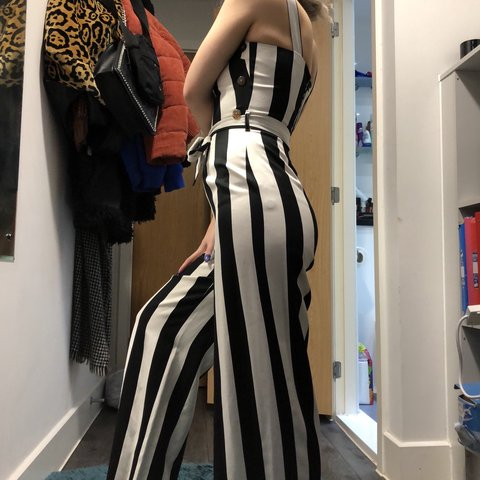 92918f7f1ce black and white striped jumpsuit brand new