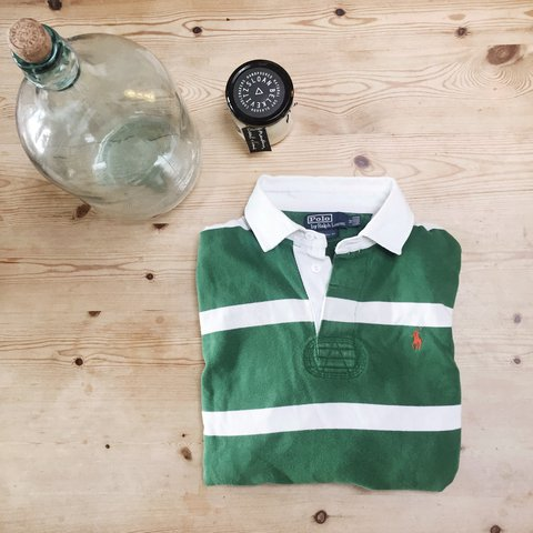 ddf1d1109 @smoliphant. 2 years ago. Glasgow, United Kingdom. Ralph Lauren Rugby Polo  Men's M   Women's Oversized Great condition, green and white ...