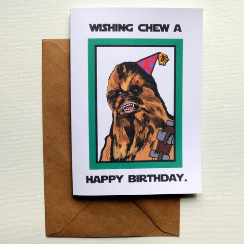 Wishing Chew A Happy Birthday Chewbacca Card Hand In Depop