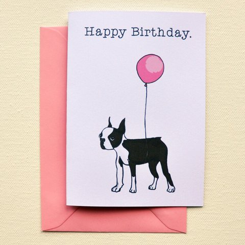 Boston Terrier Birthday Card Hand Illustrated And Depop