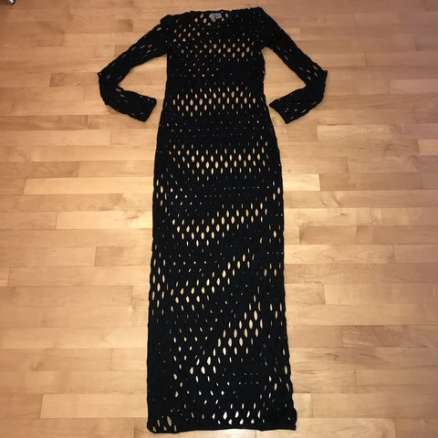 218e02aa0f5a @amcs_. last year. London, United Kingdom. Black long sleeved maxi dress  with a #fishnet looking design, can ...