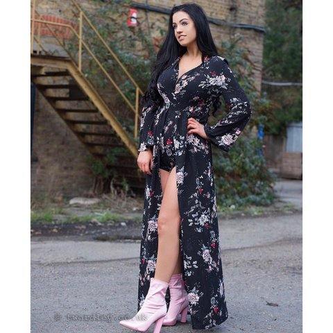 0937bc53394 In the Style Binky Black Floral Maxi Overlay Playsuit. for - Depop