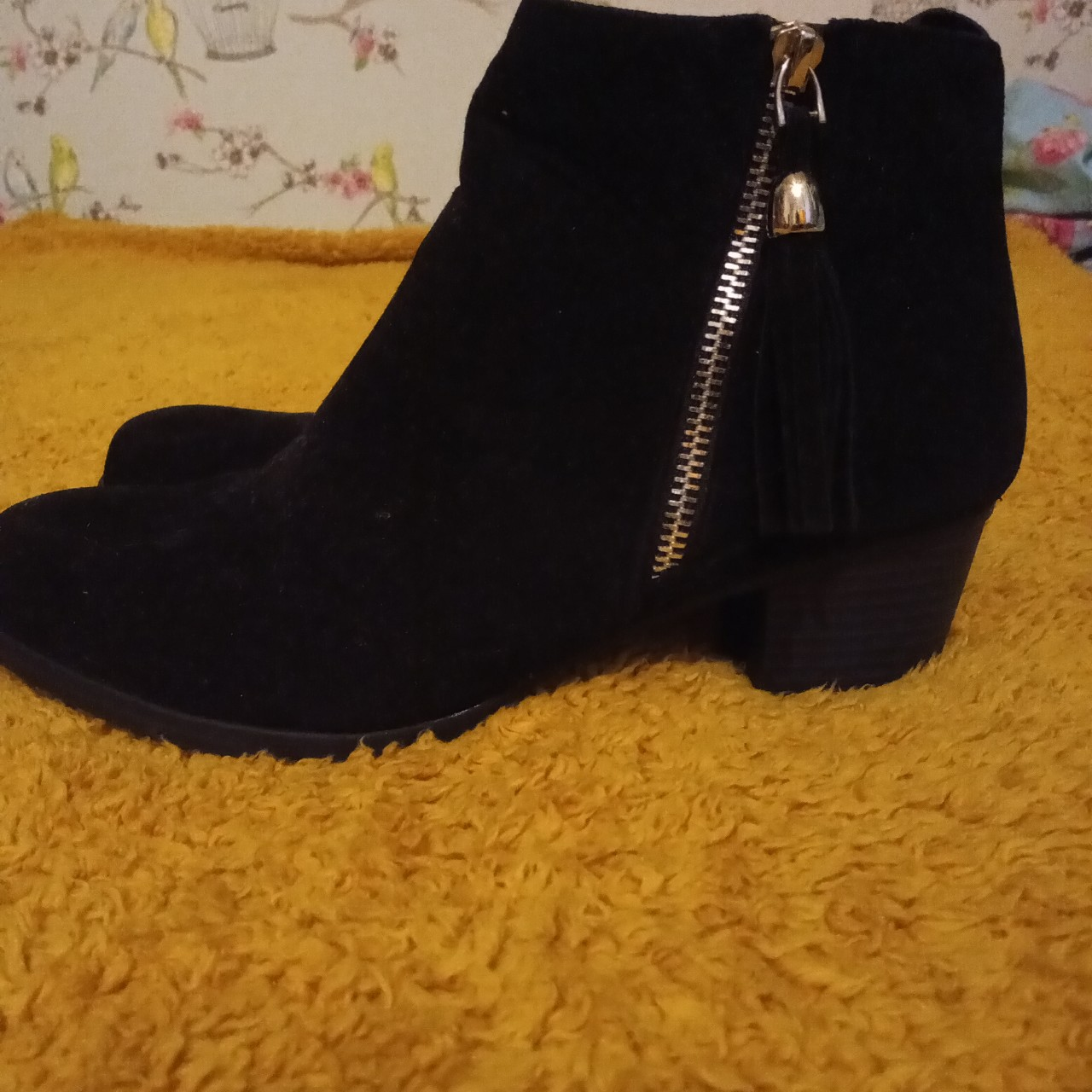 Shoe zone black fake suede zip up ankle