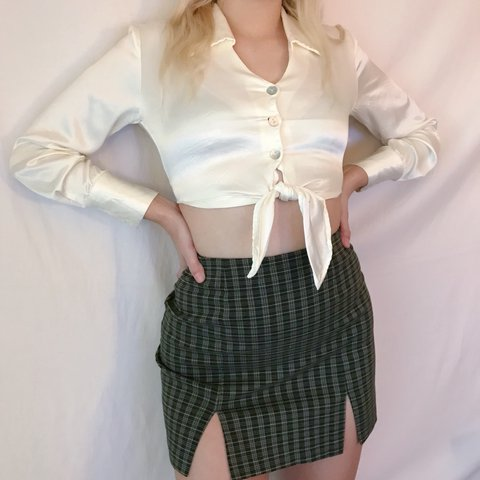 b7847a000 @nellysgreatesthits. last year. Melbourne, United States. white satin button  up crop blouse w tie ...