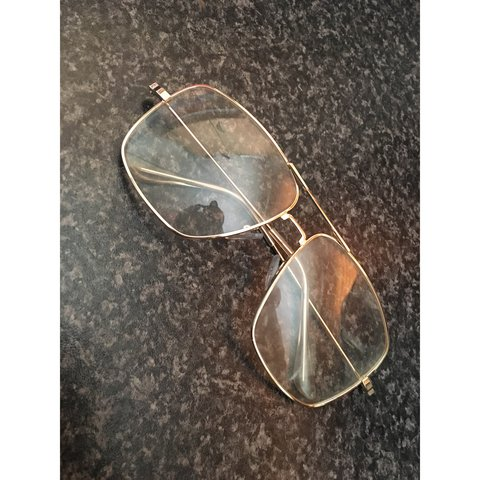 4b026f585cd Gold Frame Glasses Similar to Aviator Glasses Unisex Large 2 - Depop