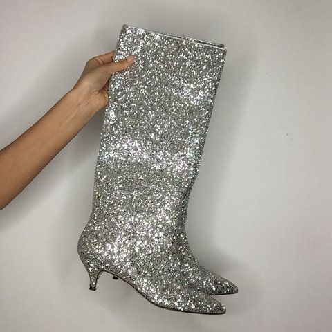 f93993155f37 Kate Spade Olina Silver Gold Glitter Boot with Kitten Size - Depop