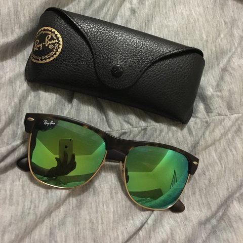 70ad79ad873a3 Ray Ban Clubmaster Mirrored. NEW with case and cleaning blue - Depop
