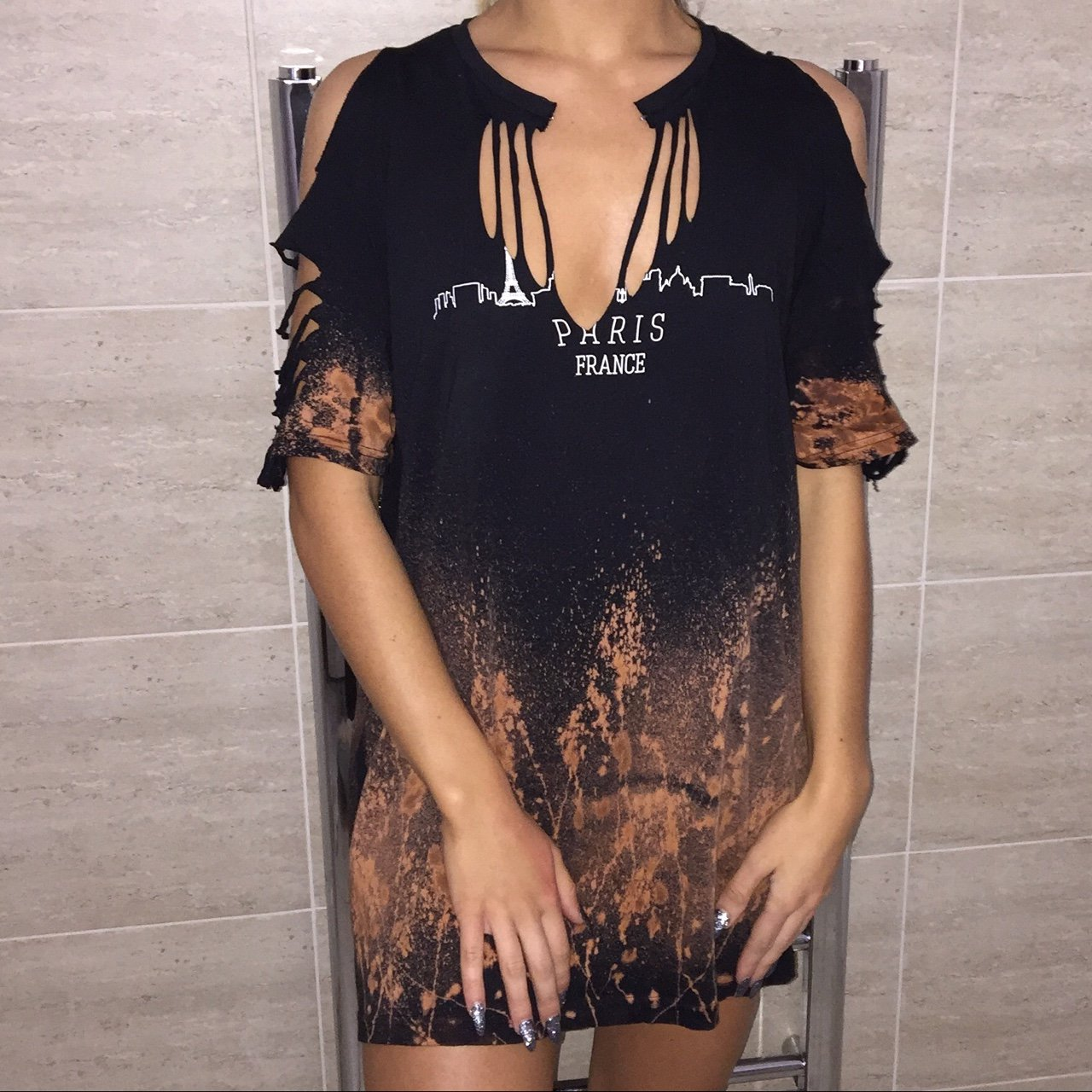 b5de4c5e7ee New! Black distressed t shirt dress. Can be worn with an or - Depop