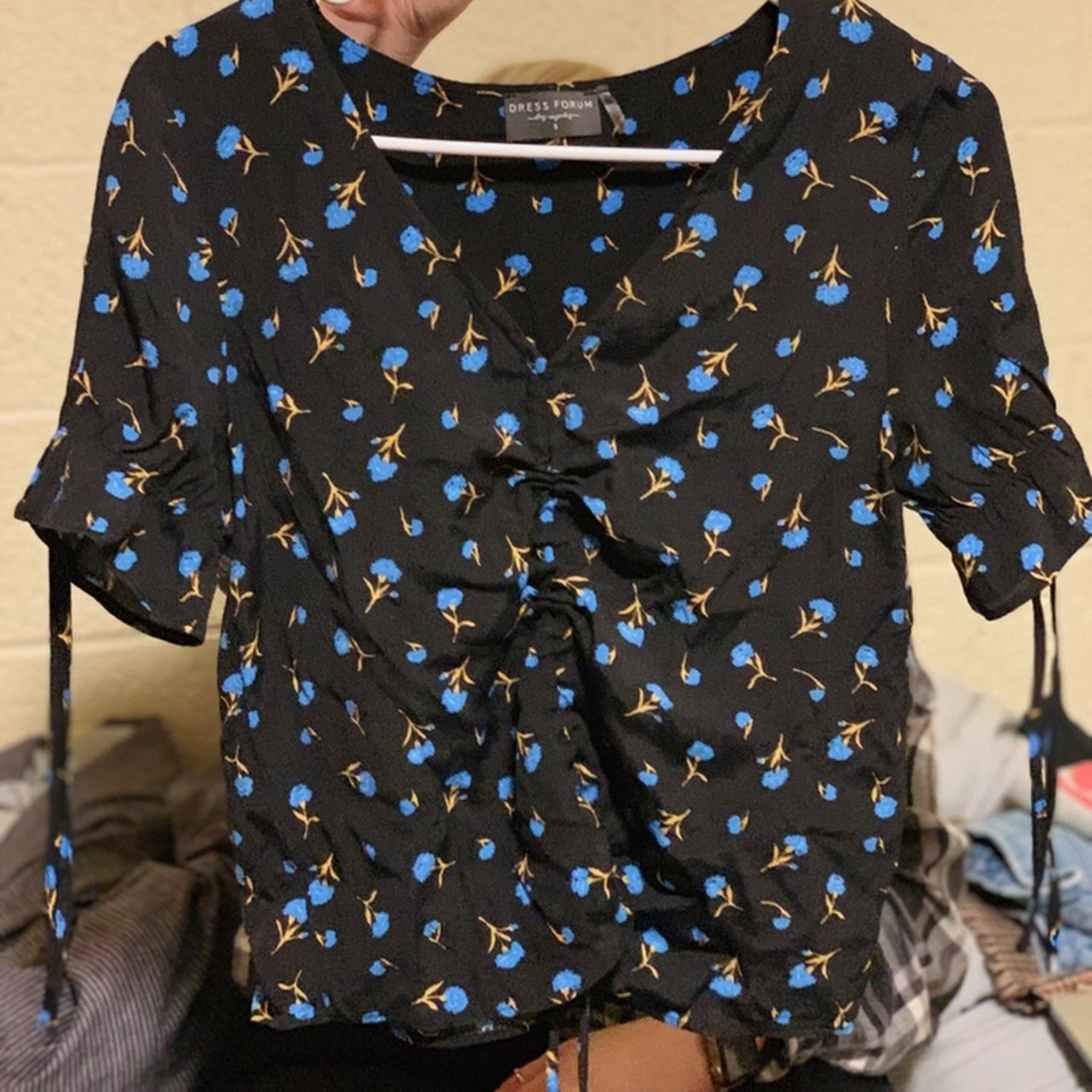 821ace3b30fc6b Black girly floral top from