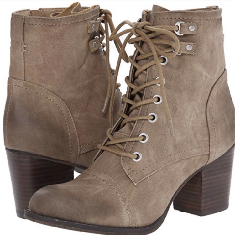 Madden Girl Lace Up Combat Heel Taupe