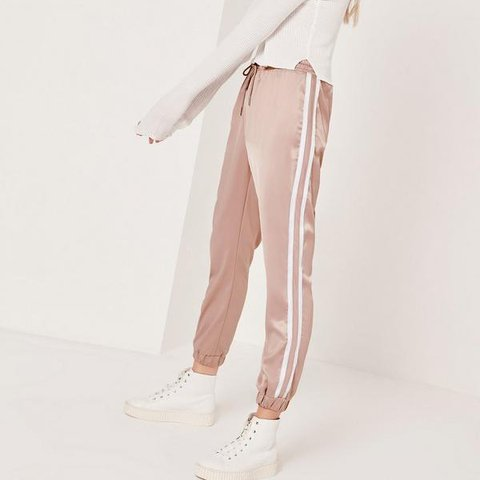 588109a0a09220 missguided stripe panel nude pink joggers , never worn but - Depop