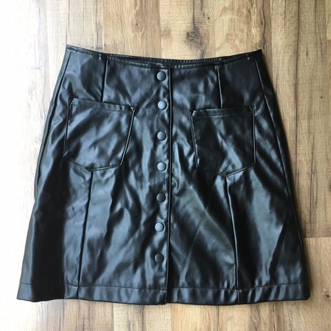 16aabe5732 NWOT BRAND NEW PLEATHER BUTTON DOWN SKIRT! size small. have - Depop