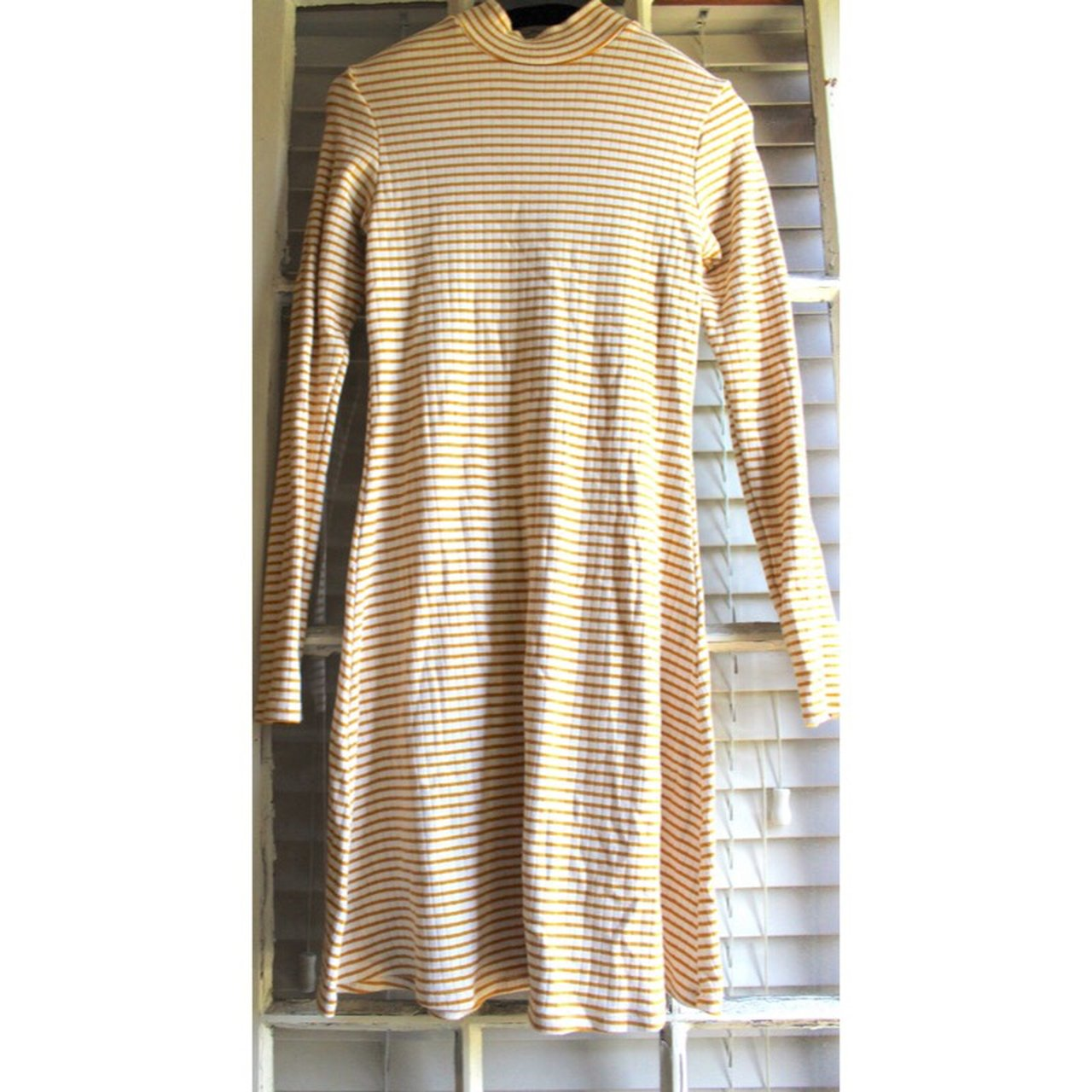 ae74163594 Amazing yellow and white striped dress. Turtleneck with long - Depop