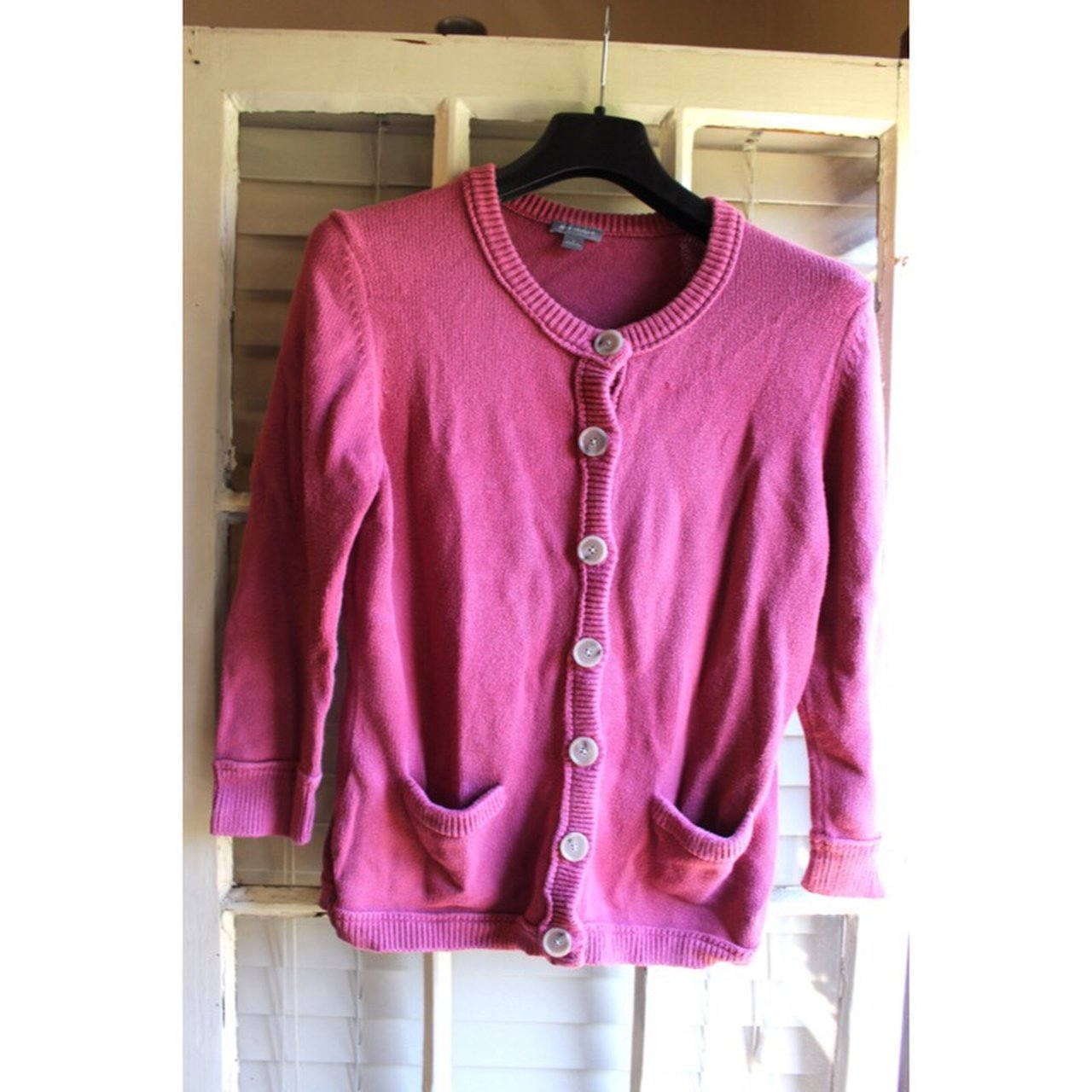 9cea138706 Absolutely adorable hot pink cardigan. 3 4 length sleeves is - Depop
