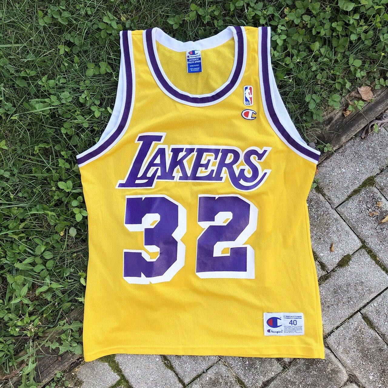1c0c374abef Vintage 90s Champion Magic Johnson Lakers Jersey Amazing - Depop