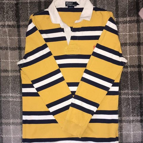0a736a0393c @edschmidt. 6 months ago. Coalville, United Kingdom. Polo Ralph Lauren / Rugby  Shirt Or Sweatshirt / Yellow With Blue And White Stripes ...