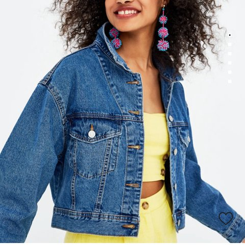 d68a04397e683 Pull and bear cropped denim jacket in size medium will fit + - Depop